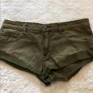 Free People Army Green Jean Shorts